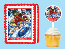Beyblade Metal Fusion Edible Birthday Cake Cupcake Toppers Plastic Pick Sticker