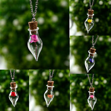 Natural Real Vintage Cute  Flower Lucky Wish Glass Bottle Chain Pendant Necklace