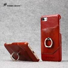 Genuine Leather With Ring Stand Hard Phone Back Cases Covers For Apple iPhone 7