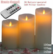 3X REMOTE CONTROL LED SOFT FLAMELESS FLICKERING FLAME CANDLES PILLAR CHURCH NG