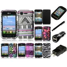 For LG Optimus Zone 2 Snap-On Design Rubberized Hard Phone Case Cover Charger