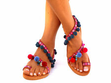 LEATHER Sandals, Pom Pom sandals, Colorful Sandals, boho Sandals,Leather Sandals