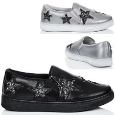 Womens Platform Glitter Star Flat Loafer Shoes Sz 5-10