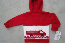 NEW! Hand Knit Baby Firetruck Sweater back zipper 6 or 12 month Red White