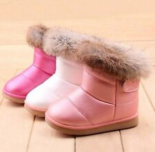 2017 Winter Girl Kids Toddler Rabbit Fur Leather AntiSlip Shoes Warm Snow Boots