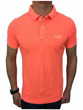 Superdry Mens Vintage Destroyed S/S Pique Polo Shirt in Fluro Coral