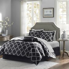 Black Reversible Comforter & Sheet Set with Decorative Pillow, Shams & Bed Skirt