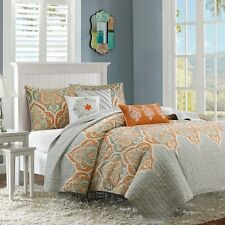 6 Piece Quilted Coverlet Set Taupey Grey & Orange With Pillows and Shams