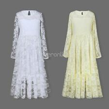 Girls Long Sleeve Lace Dress Floral Princess Pageant Wedding Bridesmaid Gown