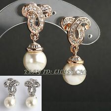 B1-E795 Fashion Rhinestone White Pearl Dangle Earrings 18KGP Crystal