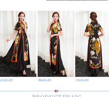 Retro long section Chinese style fashion print flower cheongsam party dress