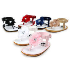 Toddler Newborn Baby Girl Leather Floral Pearl Princess Sandals Shoes Prewalkers