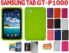 Amzer Silicone Skin Jelly Case Cover Screen Guard For Samsung GALAXY Tab P1000