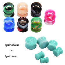 Kit Gauge Stone Plug Earlet +Silicone Ear Tunnel Body Piercing Natural Amazonite