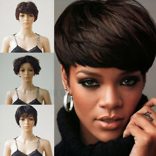 100% Remy Human Hair Wig Straight Wavy Short Full Wigs Natural Black for Lady p3