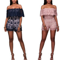 Off The Shoulder Lace Ruffle Romper Sexy Bodycon Short Jumpsuit Casual Clubwear
