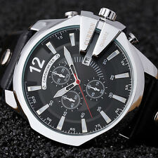 Sport Mens Date Leather Band Stainless Steel Case Military Quartz Wrist Watch