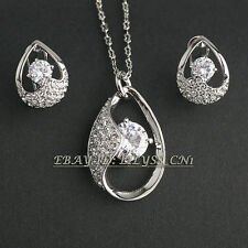 A1-S036 Fashion Solitaire Earrings Necklace Jewelry Set 18KGP Crystal Rhinestone