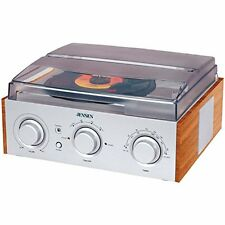 Jensen 3-Speed Stereo Turntable with AM/FM Stereo Radio (Silver)