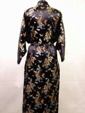 New style Chinese Women's silk/satin Robe Gown sleepwear Black Sz: S M L XL XXL