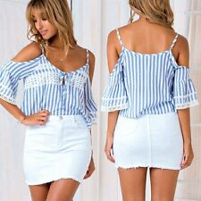 Fashion Women Lady Casual Cotton Short Sleeve Striped Loose Shirt Blouse Tops