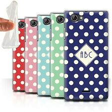 Personalised Custom Polka Dot Case for Sony Xperia J (ST26i)/Initial Gel Cover