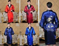 Double face Chinese men's silk Dragon Robe Gown bathrobe Sz: M L XL XXL 3XL