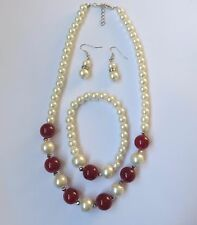 FAUX PEARL NECKLACE BRACELET DROP DANGLE EARRING SET WITH BEIGE OR RED BEADS new