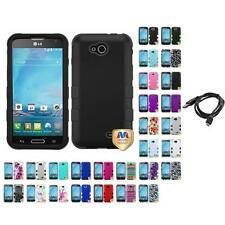 For LG Optimus L90 Hybrid TUFF IMPACT Phone Case Hard Rugged Cover + Cable