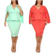 Plus Dress Cape Peplum Ruffle Bodycon 3/4 Sleeve Cocktail Midi Sexy 1X 2X 3X