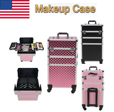 4 In 1 Portable Beauty Makeup Case Cosmetics Box Carry Bag Organiser Trolley New