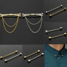 Trendy Mens Collar Pin Cravat Tie Clip Clasp Bar Skinny Jewelry Golden Silver