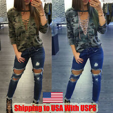 Women Ladies Casual V Neck Long Sleeve Cotton Blend Loose Tops T Shirt Blouse