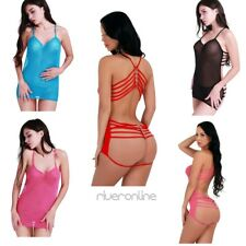 Sexy Women Lingerie Babydoll Lace Bandage Sleepwear Nightwear Dress G-string Set