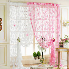 Voile Tulle Floral Window Door Curtain Scarf Valance Butterfly Sheers Curtains