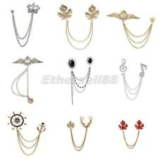 Men Women Blouse Shirt Collar Neck Tip Crystal Brooch Pin Chain Necklace Jewelry