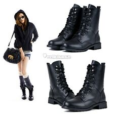 Fashion Women's Cool Black PUNK Military Army Knight Lace-up Short Boots W3LE01