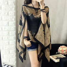 Fashion Boho Soft Chiffon Shawl Tops Loose Stole Cape Kimono Coat Blouse Poncho