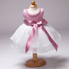 Baby Girls Princess Toddler Wedding Baptism Christening Gown Pearls Tutu Dress