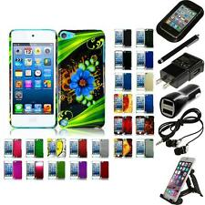For Apple iPod Touch 5th 6th Gen Snap-On Design Hard Phone Case Cover Bundle