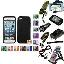 For Apple iPhone 5/5S/SE Butterfly Hybrid IMPACT Armor Case Phone Cover + Bundle
