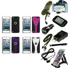 For iPod Touch 5th 6th Gen Snap-On Rear Hard Back Cover Phone Case + Bundle