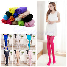 Women sexy opaque pantyhose stretch long stockings Solid Footed Tights Colorful