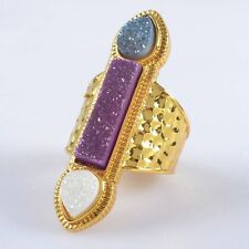 Size 6 Natural Agate Titanium Druzy Ring Gold Plated B034778