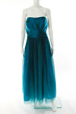 ML Monique Lhuillier Strapless Ombre Teal Dress Size 20 New $798 10239670