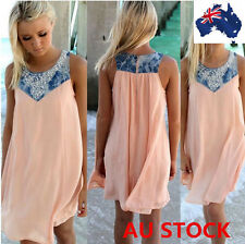 Womens Summer Beach Sleeveless Chiffon Long Top Mini Dress Plus Size AU STOCK