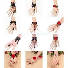 Charming Rose Flower Lace Gothic Retro Party Bracelet Chain Ring Fashion Jewelry
