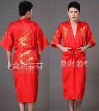 Red Chinese style men's silk/satin bathrobe gown/Robe Size M L XL XXL XXXL