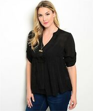 Women Plus Size Top Blouse Casual Black Sheer Babydoll Buttons Empire Waist Cute