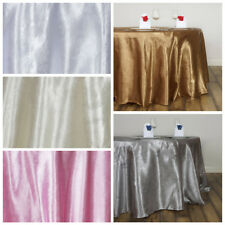 "120"" Embossed Round Satin Tablecloths Wedding Linens Decoration Supplies"